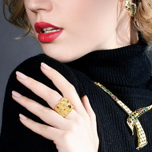 Wide Gold  /  Color Paved Cocktail Ring