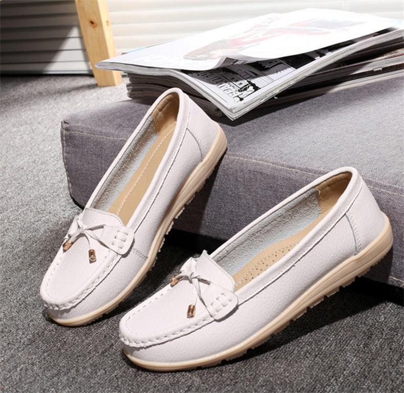 The slips genuine leather women flats shoes