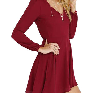 The v neck cut and skater fit Dress
