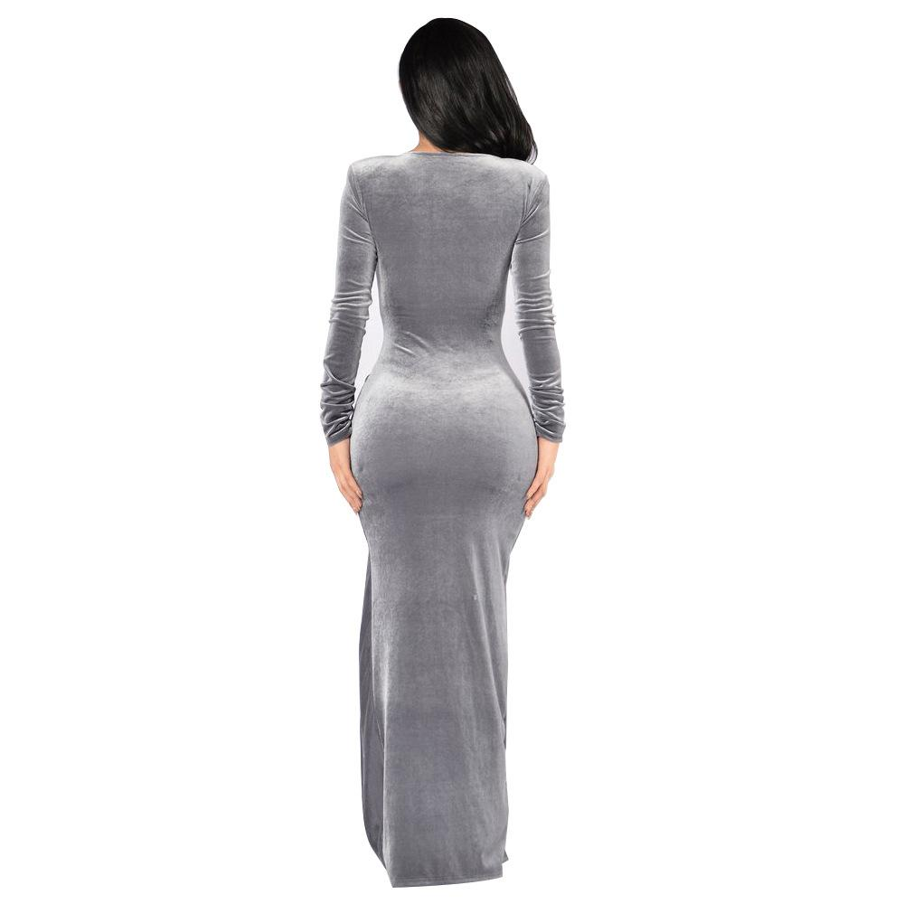 Silk satin strapless long sleeve high bifurcate bodycon dress