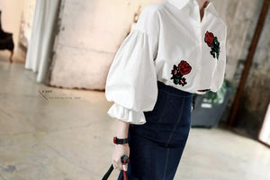 Embroidered Long Puff Tops