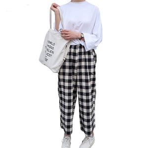 Plaid Patchwork Ankle-length Pants