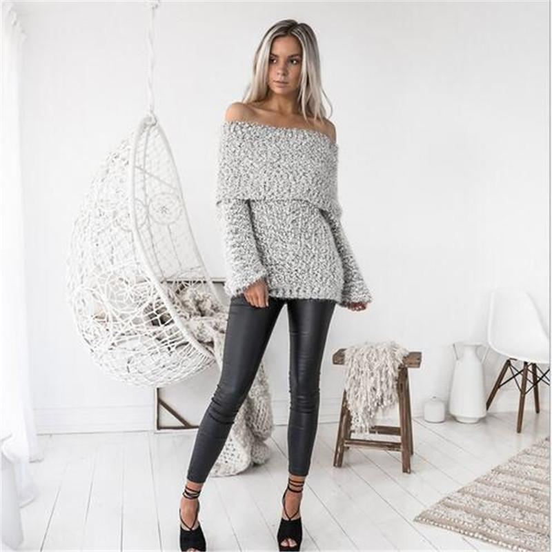 Baggy off the shoulder Pullover Sweaters