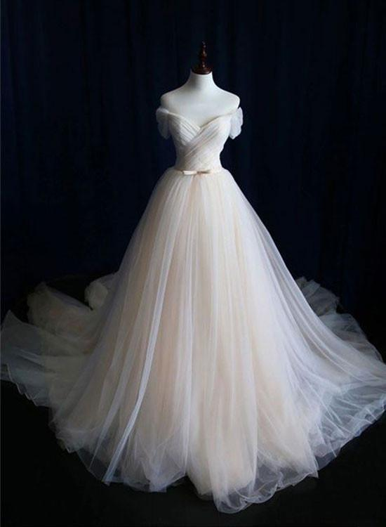The champagne tulle long prom dress with train, champagne wedding dresses