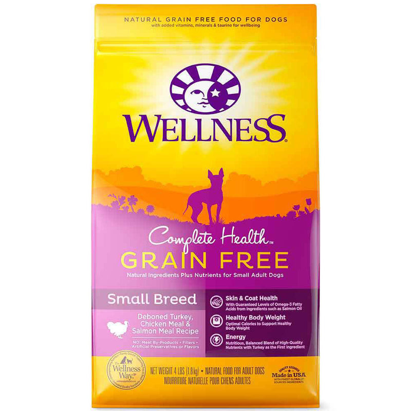 Wellness® Complete Health™ Grain Free Deboned Turkey, Chicken Meal & Salmon Meal Recipe Small Breed Dog Food 4 Lbs