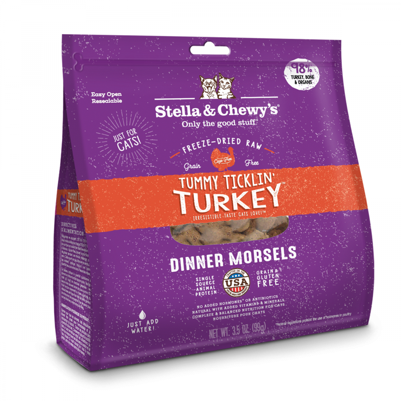 Stella & Chewy's Tummy Ticklin' Turkey Dinner Morsels Grain Free Freeze Dried Raw Cat Food