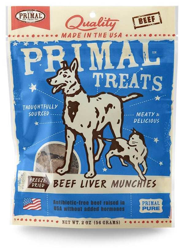 Primal Freeze-Dried Grain Free Beef Liver Munchies Dog and Cat Treats