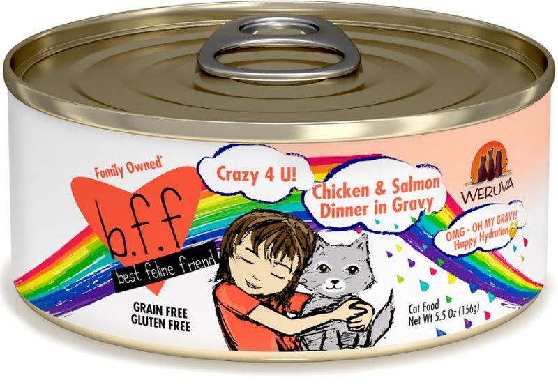Weruva BFF Oh My Gravy Crazy 4 U Grain Free Chicken & Salmon in Gravy Canned Cat Food