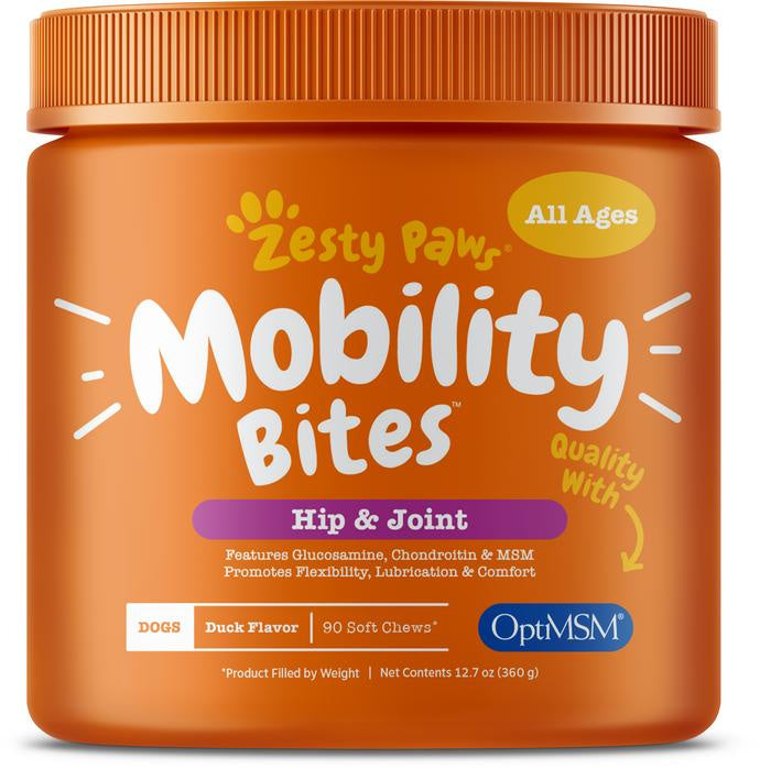 Zesty Paws Mobility Bites Duck Flavor Hip & Joint Support Soft Chews For Dogs