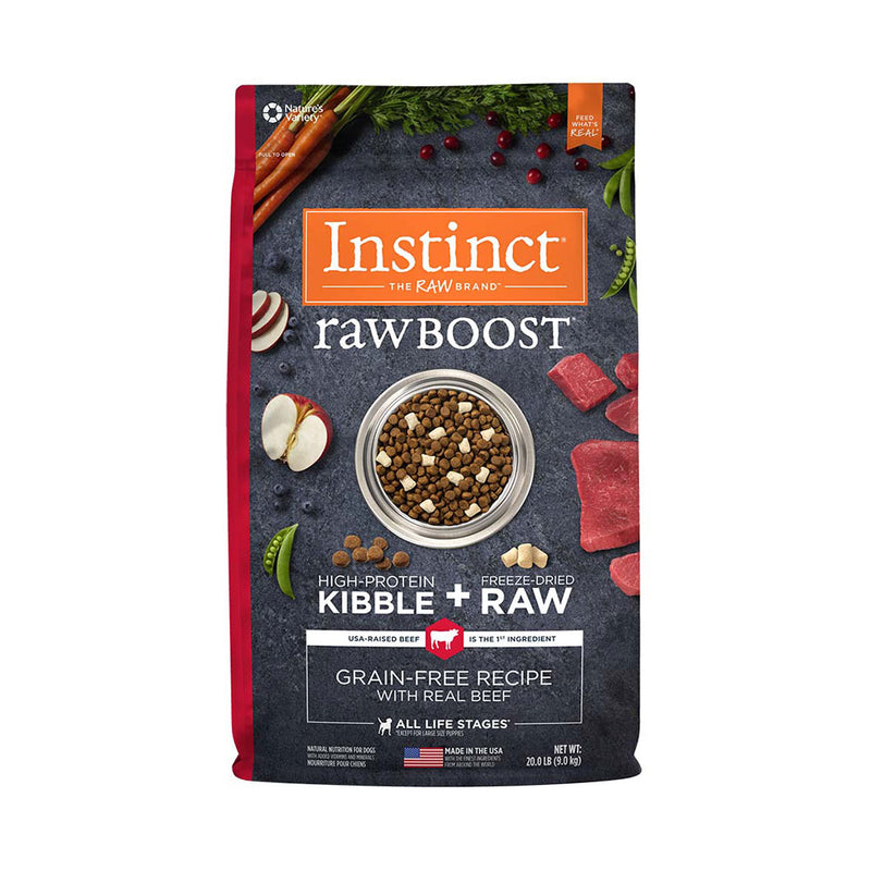Instinct® Raw Boost® Grain Free Recipe with Real Beef Freeze Dried Dog Food 20 Lbs