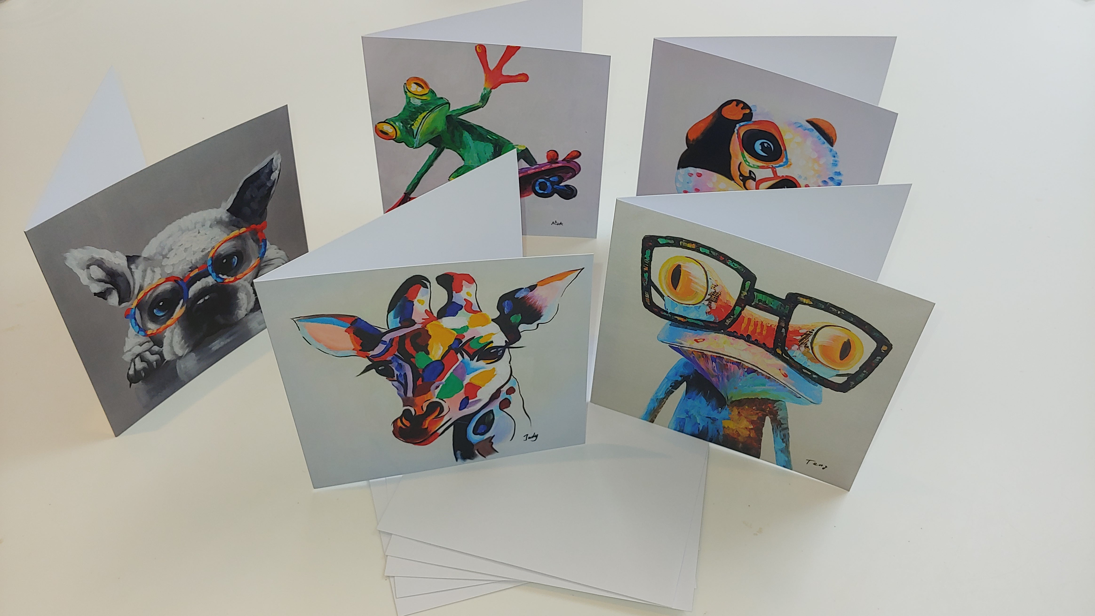 Bundle of 5 greeting cards of pop art animals - Fun Animal Art