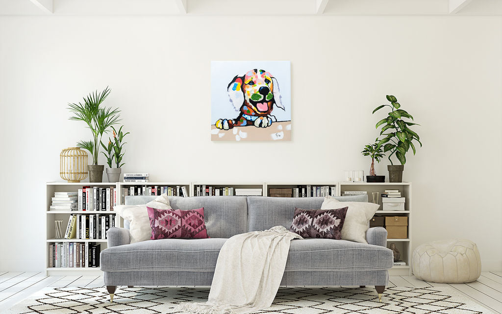 Cheeky Labrador | Hand painted oil on canvas | 48x48cm Framed.