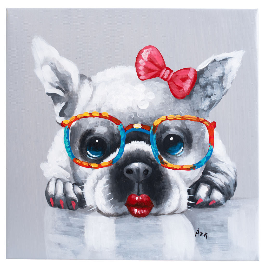 French Bulldog girl. 100% hand painted oil on canvas. Framed - Fun Animal Art