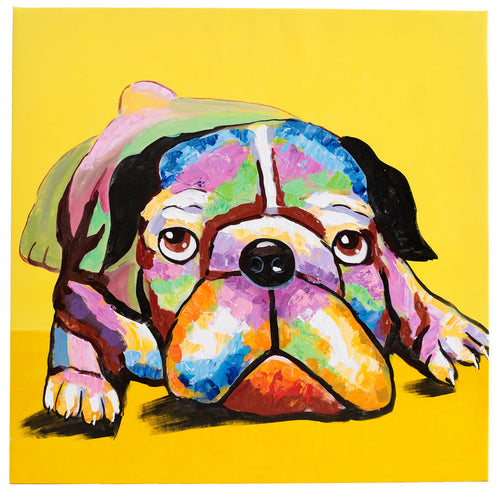 Dazzling Bulldog. 100% hand painted oil on canvas. Framed - Fun Animal Art