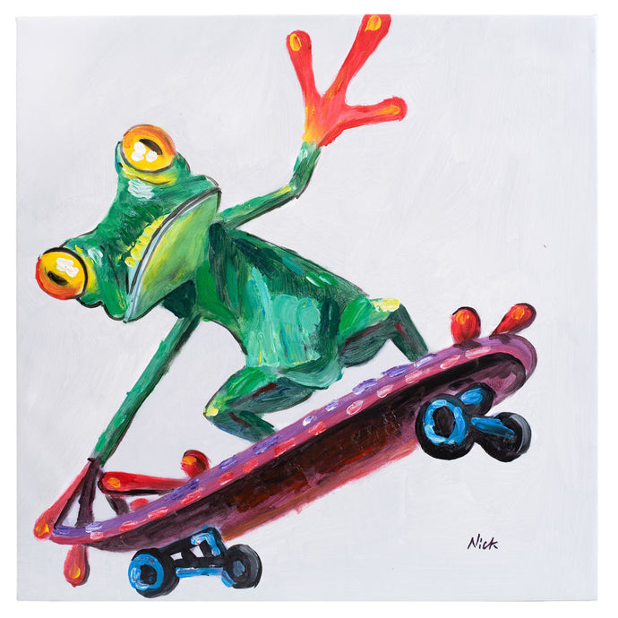Frog on skateboard. 100% hand painted oil on canvas. Framed - Fun Animal Art