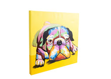 Load image into Gallery viewer, Dazzling Bulldog. 100% hand painted oil on canvas. Framed - Fun Animal Art