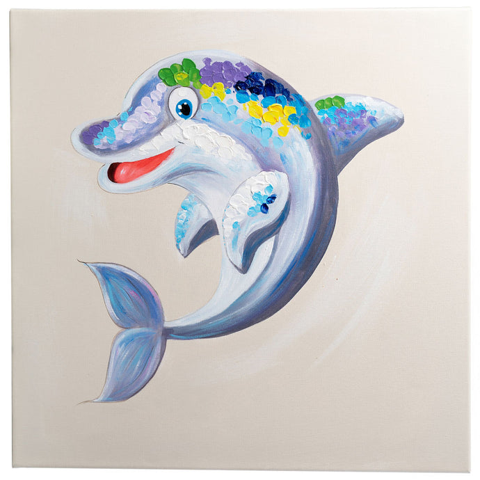 Dazzling Dolphin. Hand Painted Oil on Canvas. 60 x 60cm. Framed.