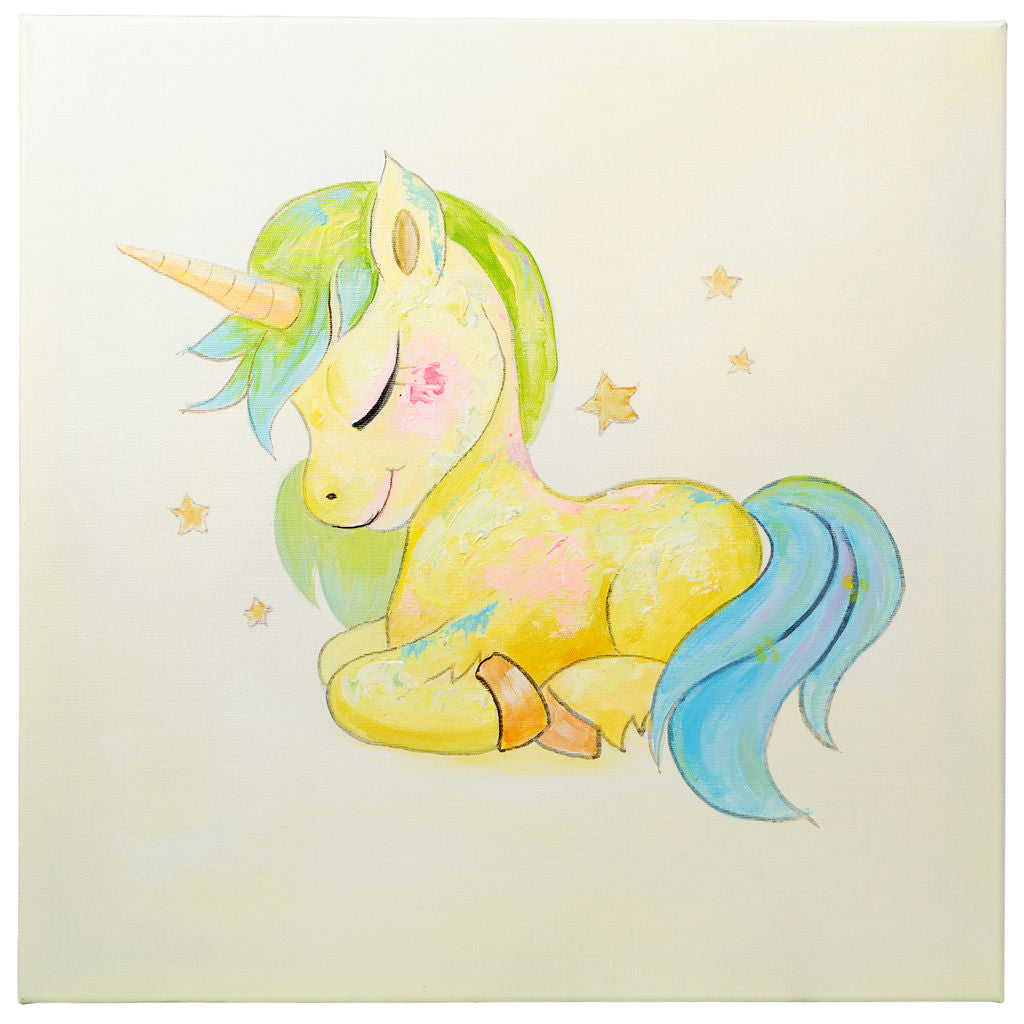 Sleeping Unicorn | Hand painted oil on canvas | 60x60cm Framed