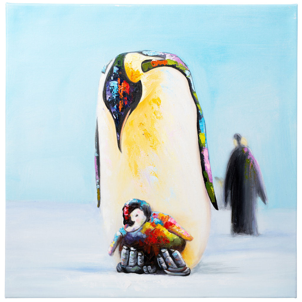 Doting Penguin | Hand painted oil on canvas | 60x60cm Framed.