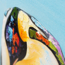 Load image into Gallery viewer, Doting Penguin 100% hand painted oil on canvas. 60x60cm. Framed