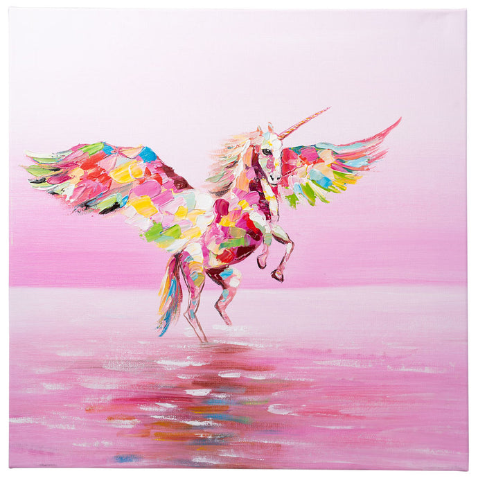 Flying Unicorn. 100% hand painted oil on canvas. 60x60cm. Framed
