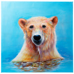 Load image into Gallery viewer, Bathing Polar Bear | Hand painted oil on canvas | 60x60cm. Framed