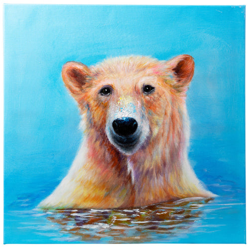 Bathing Polar Bear. Hand painted oil on canvas. 60x60cm. Framed