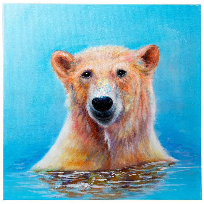 Bathing Polar Bear. 100% hand painted oil on canvas. 60x60cm. Framed
