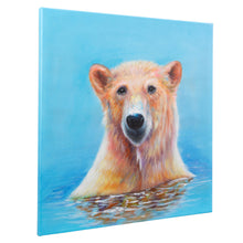 Load image into Gallery viewer, Bathing Polar Bear. 100% hand painted oil on canvas. 60x60cm. Framed