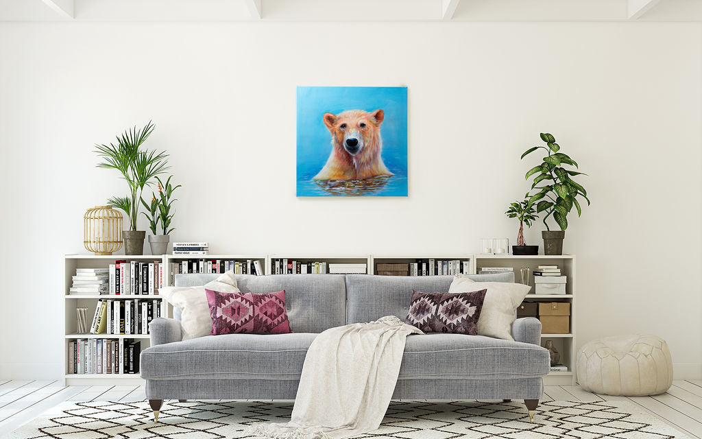 Bathing Polar Bear | Hand painted oil on canvas | 60x60cm. Framed