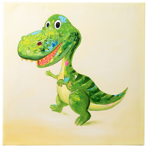 T Rex Dinosaur. 100% Hand Painted Oil on Canvas. 60 x 60cm. Framed.