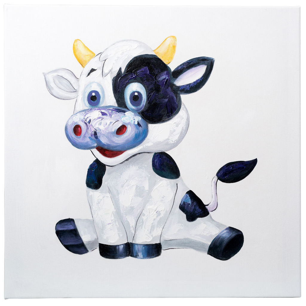 Cheerful Cow. 100% Hand Painted Oil on Canvas. 60 x 60cm. Framed.