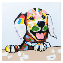 Load image into Gallery viewer, Cheeky Labrador. 100% hand painted oil on canvas. Framed - Fun Animal Art