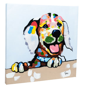 Cheeky Labrador. 100% hand painted oil on canvas. Framed - Fun Animal Art