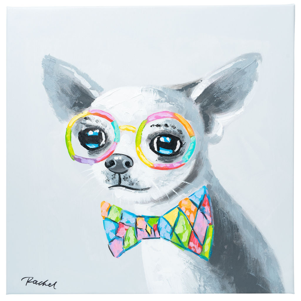 Cute Chihuahua with bow tie. 100% hand painted oil on canvas. Framed - Fun Animal Art