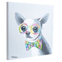 Load image into Gallery viewer, Cute Chihuahua with bow tie. 100% hand painted oil on canvas. Framed - Fun Animal Art
