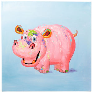 Happy Hippopotamus. 100% Hand Painted Oil on Canvas. 60x 60cm. Framed.