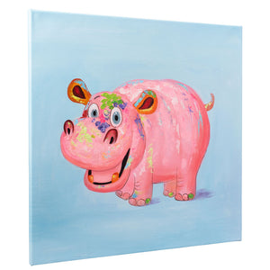 Happy Hippopotamus | Hand Painted Oil on Canvas | 60x 60cm Framed.