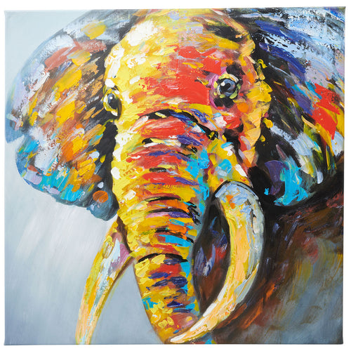 Classic Abstract Elephant. Hand Painted Oil on Canvas. 60 x 60cm. Framed