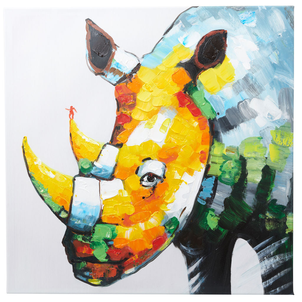Stunning Rhinoceros. Hand Painted Oil on Canvas. 60 x 60cm. Framed.