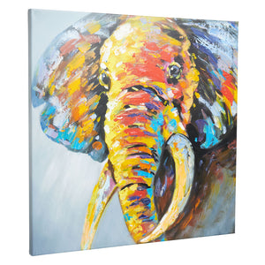 Classic Abstract Elephant | Hand Painted Oil on Canvas | 60 x 60cm Framed