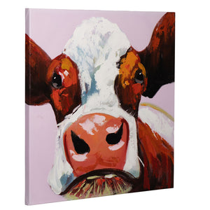 How Now Brown Cow | Hand Painted Oil on Canvas | 60x60cm Framed