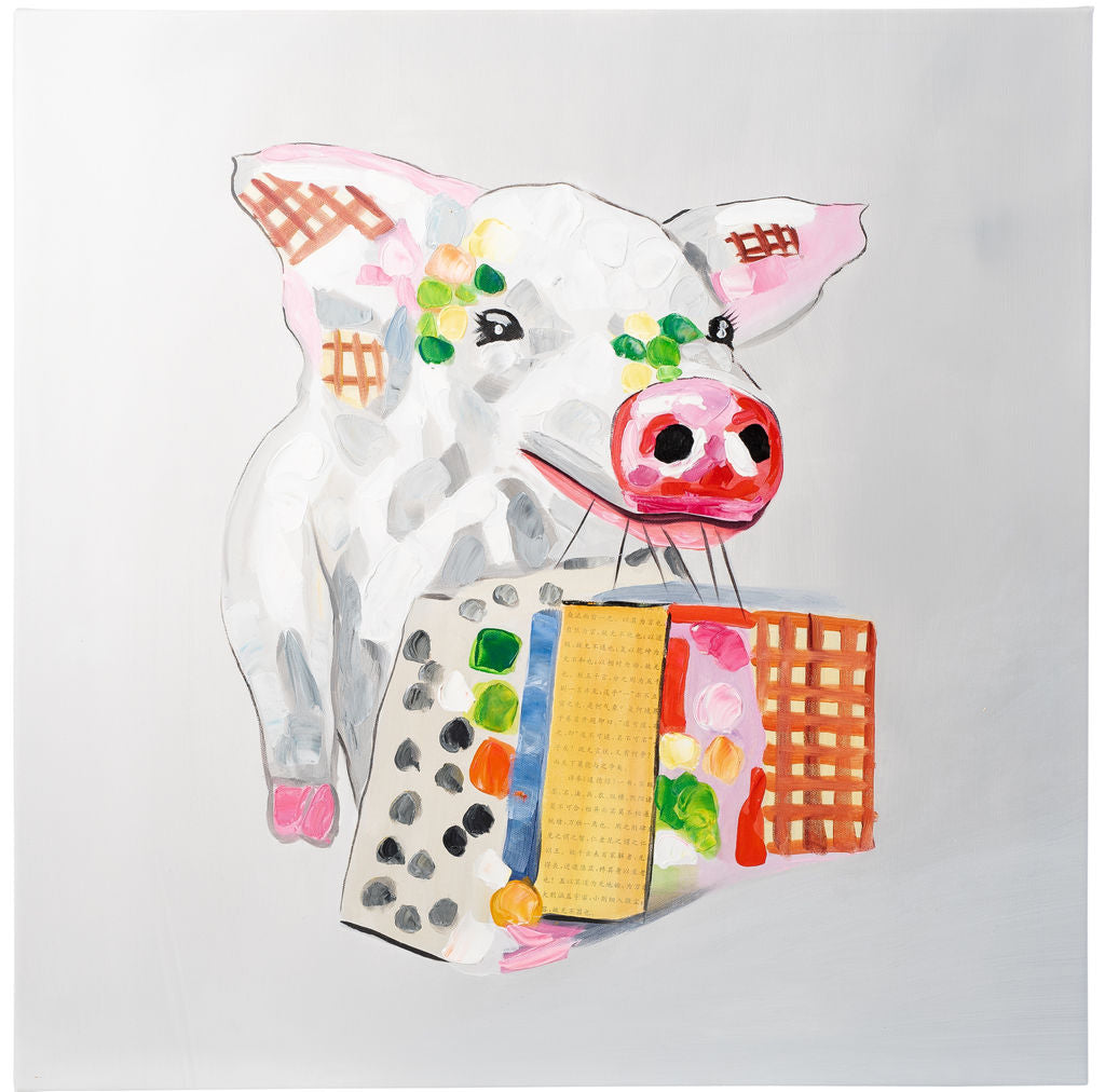 Happy Pig with Shopping. 100% hand painted oil on canvas. Framed - Fun Animal Art