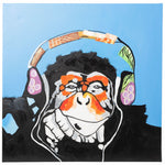 Load image into Gallery viewer, Cool Monkey with Headphones. 100% hand painted oil on canvas. Framed - Fun Animal Art