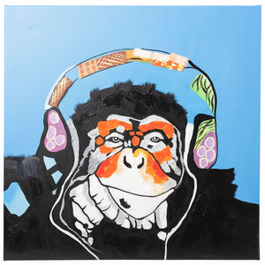 Cool Monkey with Headphones. 100% hand painted oil on canvas. Framed - Fun Animal Art