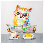 Load image into Gallery viewer, Cat with Newspaper. 100% hand painted oil on canvas. Framed - Fun Animal Art