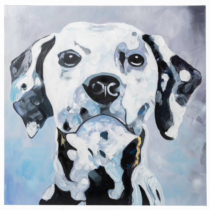 Dalmatian. 100% hand painted oil on canvas. Framed - Fun Animal Art