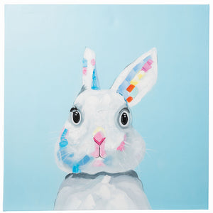 Cute Bunny Rabbit. 100% hand painted oil on canvas. Framed - Fun Animal Art