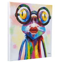 Load image into Gallery viewer, Crazy Girl Frog in Glasses. Hand Painted Oil on Camvas. 48x48cm. Framed. HALF PRICE