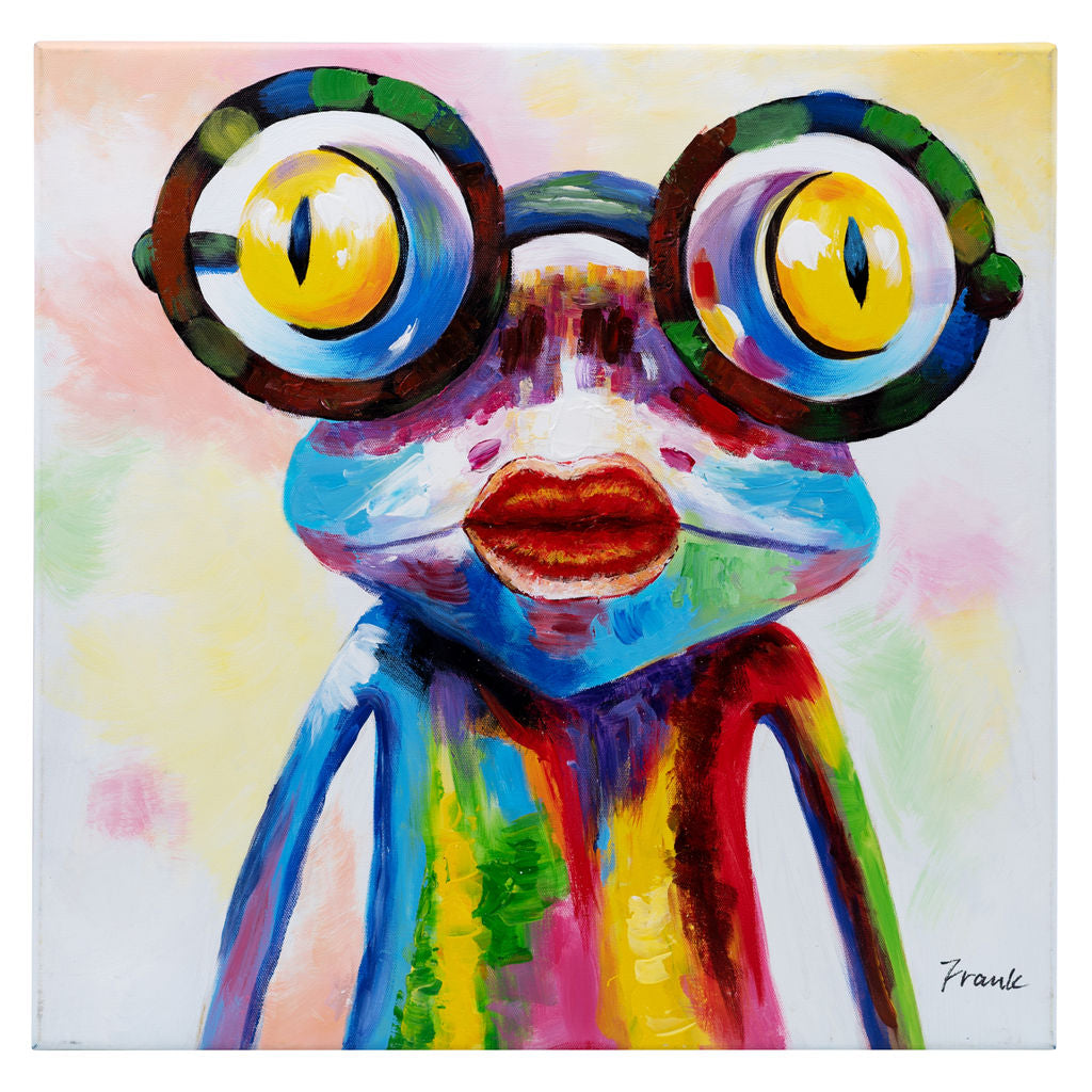 Crazy Girl Frog in Glasses. Hand Painted Oil on Camvas. 48x48cm. Framed. HALF PRICE